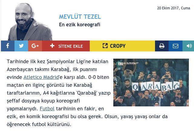 تمسخر هواداران تیم قره باغ جمهوری آذربایجان توسط رسانه های ترکیه!
