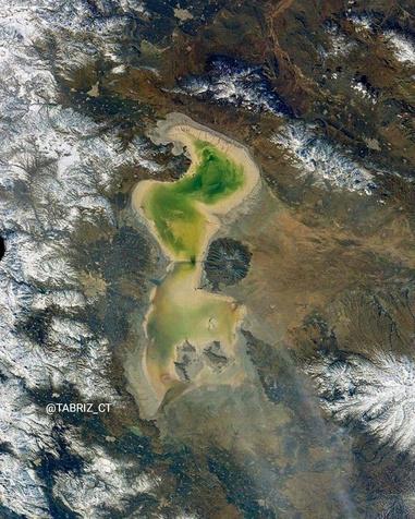 تصویر ماهواره ای از از وضعیت دریاچه ارومیه