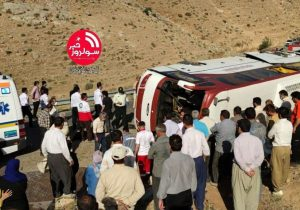 واژگونی اتوبوس حامل خبرنگاران در نقده / فوت دو خبرنگار بر اثر واژگونی